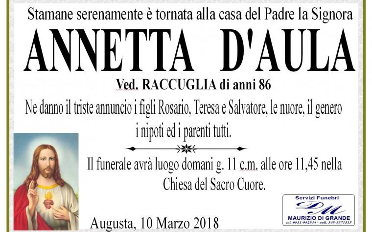 ANNETTA D'AULA (Ved. RACCUGLIA)